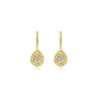 Gabriel & Co. 14k Yellow Gold Hampton Diamond Drop Earrings