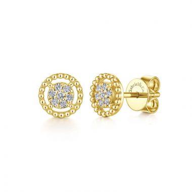 Gabriel & Co. 14k Yellow Gold Bujukan Diamond Stud Earrings