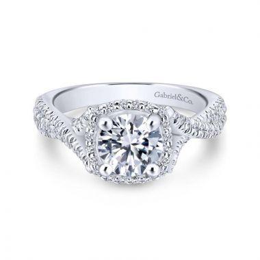 Gabriel & Co. 14k White Gold Rosette Halo Engagement Ring