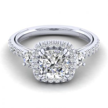Gabriel & Co. 14k White Gold Victorian 3 Stone Halo Engagement Ring