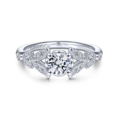 Gabriel & Co. 14k White Gold Victorian Split Shank Engagement Ring