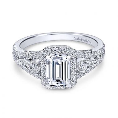 Gabriel & Co. 18K White Gold Contemporary Halo Engagement Ring