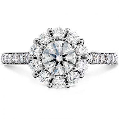Hearts on Fire 18k White Gold Beloved Open Gallery Diamond Double Halo Engagement Ring