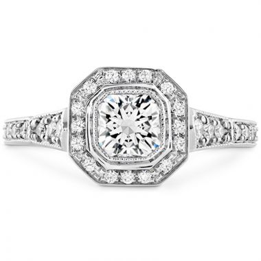 Hearts on Fire 18k White Gold Deco Chic Diamond Halo Engagement Ring