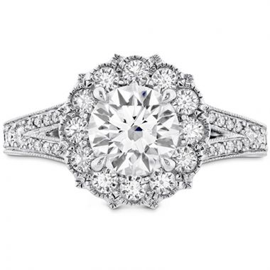 Hearts on Fire 18k White Gold Liliana Diamond Split Shank Halo Engagement Ring