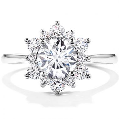 Hearts on Fire 18k White Gold Delight Lady Di Diamond Halo Engagement Ring