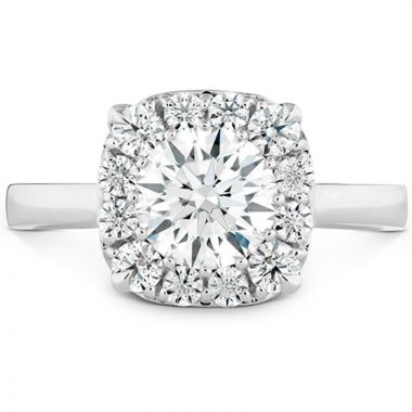 Hearts on Fire 18k White Gold Signature Diamond Halo Engagement Ring