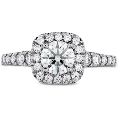 Hearts on Fire 18k White Gold Transcend Diamond Halo Engagement Ring