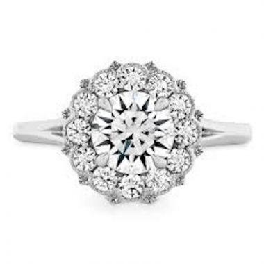 Hearts on Fire 18k White Gold Liliana Diamond Halo Engagement Ring