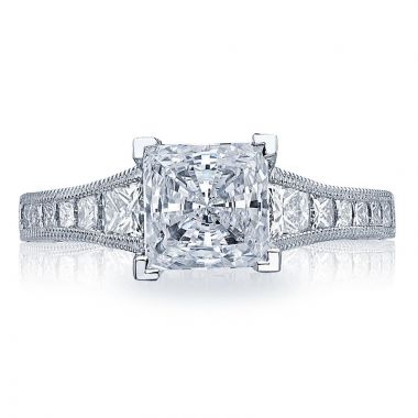 Tacori Platinum Reverse Crescent Straight Diamond Engagement Ring