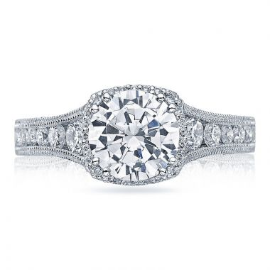 Tacori Platinum Reverse Crescent Halo Diamond Engagement Ring