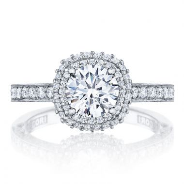 Tacori 18k White Gold Blooming Beauties Double Halo Diamond Engagement Ring