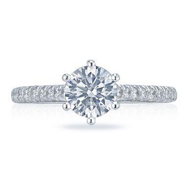 Tacori Platinum Petite Crescent Straight Diamond Engagement Ring