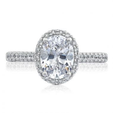 Tacori Platinum Petite Crescent Halo Diamond Engagement Ring