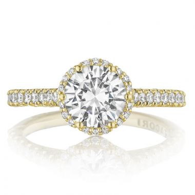 Tacori 18k Yellow Gold Petite Crescent Halo Diamond Engagement Ring