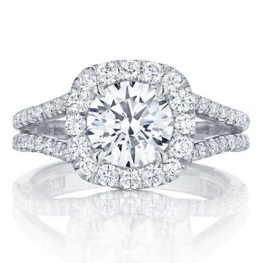 Tacori 18k White Gold Petite Crescent Split Shank Diamond Engagement Ring