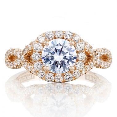 Tacori 18k Rose Gold Petite Crescent Criss Cross Diamond Engagement Ring