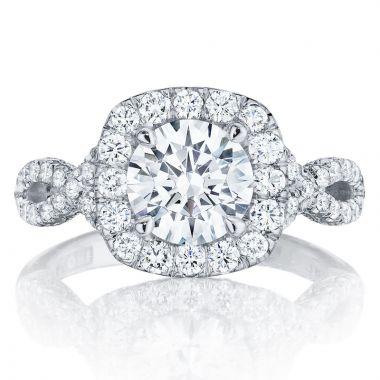 Tacori 18k White Gold Petite Crescent Criss Cross Diamond Engagement Ring
