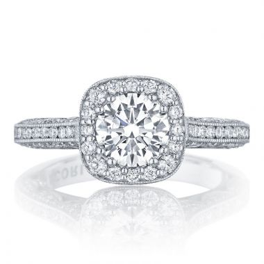 Tacori Platinum Classic Crescent Straight Diamond Engagement Ring