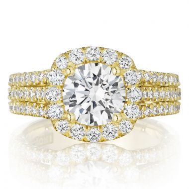 Tacori 18k Yellow Gold Petite Crescent Halo Diamond Engagement Ring