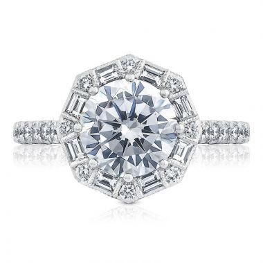 Tacori Platinum Petite Crescent Halo Diamond Engagement Ring
