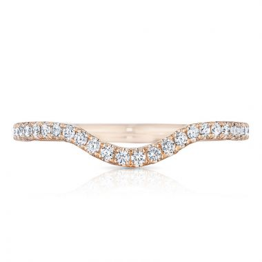 Tacori 18k Rose Gold Petite Crescent Diamond Curved Women's Wedding Band