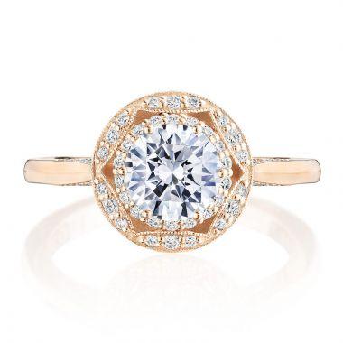 Tacori 18k Rose Gold Crescent Chandelier Halo Diamond Engagement Ring