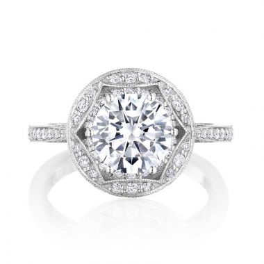 Tacori Platinum Crescent Chandelier Halo Diamond Engagement Ring