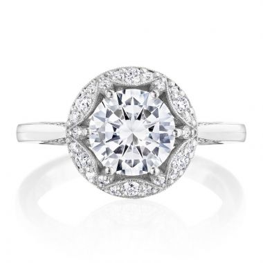 Tacori 18k White Gold Crescent Chandelier Halo Diamond Engagement Ring