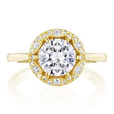 Tacori 18k Yellow Gold Crescent Chandelier Halo Diamond Engagement Ring