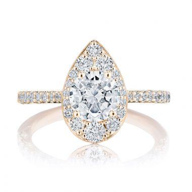 Tacori 18k Rose Gold INFLORI Halo Diamond Engagement Ring