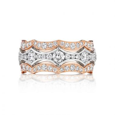 Tacori Two Tone 18k Gold Adoration Curved Wedding Band