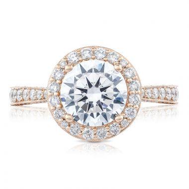 Tacori 18k Rose Gold RoyalT Halo Diamond Engagement Ring