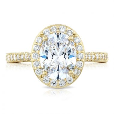 Tacori 18k Yellow Gold RoyalT Halo Diamond Engagement Ring