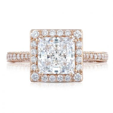 Tacori 18k Rose Gold RoyalT Halo Diamond Engagement Ring