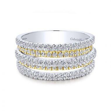 Gabriel & Co. 14k Two Tone Gold Lusso Diamond Ring