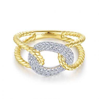 Gabriel & Co. 14k Two Tone Gold Hampton Diamond Ring