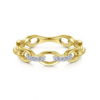 Gabriel & Co. 14k Yellow Gold Contemporary Diamond Ring