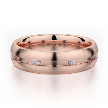Michael M 18k Rose Gold Diamond Men's Wedding Band