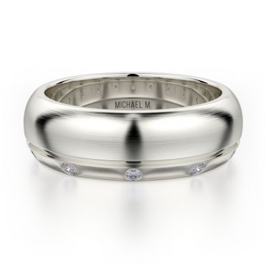Michael M 14k White Gold Diamond Men's Wedding Band