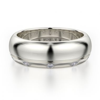 Michael M 18k White Gold Men's Wedding Band