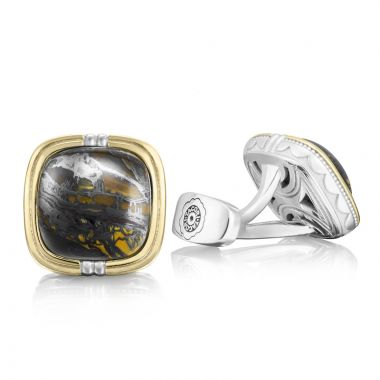 Tacori Sterling Silver and 18k Yellow Gold Retro Classic Gemstone Men's Cuffink