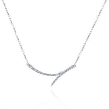 Gabriel & Co. 14k White Gold Kaslique Diamond Bar Necklace