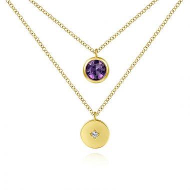 Gabriel & Co. 14k Yellow Gold Color Solitaire Gemstone & Diamond Necklace