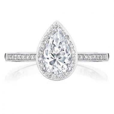 Tacori 14k White Gold Coastal Crescent Halo Diamond Engagement Ring