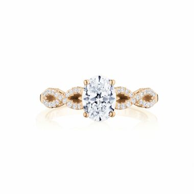Tacori 14k Rose Gold Coastal Crescent Criss Cross Diamond Engagement Ring