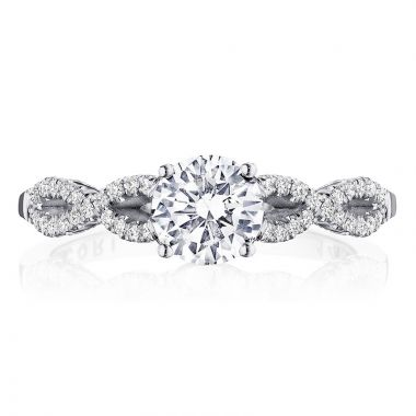 Tacori 14k White Gold Coastal Crescent Criss Cross Diamond Engagement Ring
