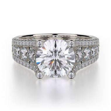 Michael M 18k White Gold Stella Diamond Straight Engagement Ring