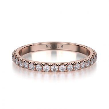 Michael M 18k Rose Gold Diamond Wedding Band