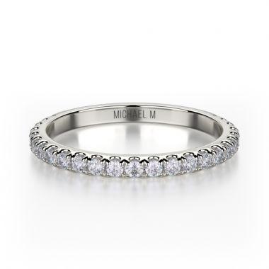Michael M 18k White Gold Diamond Wedding Band